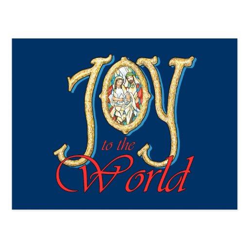 Alegría al mundo con natividad del vitral tarjetas postales