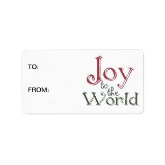 Alegría al mundo etiquetas de dirección