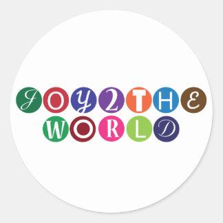 Alegría al mundo pegatina redonda