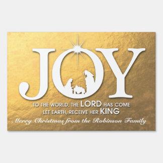 Alegría al navidad del mundo (oro) el | letrero