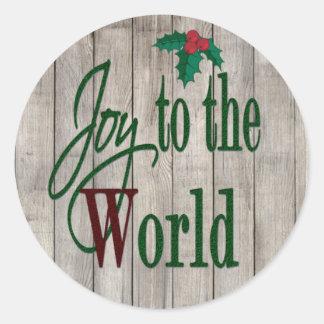Alegría al navidad del país del mundo pegatina redonda