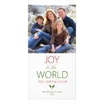 Alegría al navidad religioso del acebo del mundo tarjeta fotografica personalizada