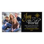 Alegría al navidad religioso del mundo tarjeta fotografica personalizada