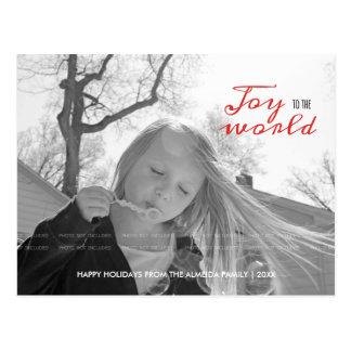 Alegría al negro rojo del navidad de la foto del d tarjetas postales