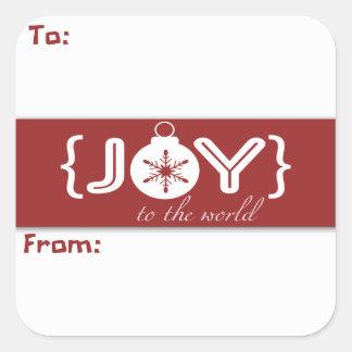 Alegría al pegatina del regalo del ornamento del