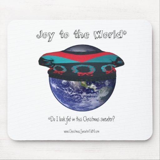 Alegría al suéter del navidad del mundo tapete de ratones