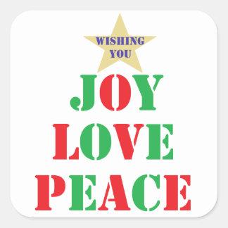 Alegría, amor, paz pegatina cuadrada
