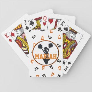 Alegría anaranjada y negra de los megáfonos cartas de póquer