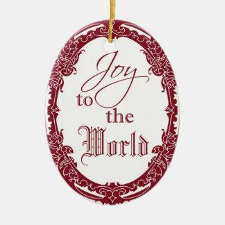 Alegría antigua del marco al ornamento del navidad adorno ovalado de cerámica