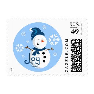 Alegría azul linda del muñeco de nieve sellos
