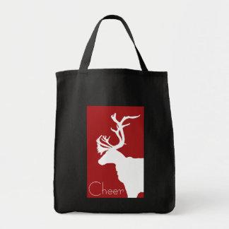 Alegría blanca del reno bolsa tela para la compra