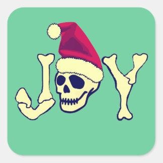 Alegría - cráneo de Santa Pegatinas Cuadradases