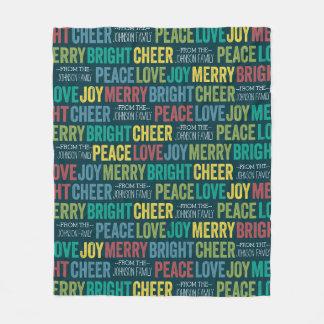 Alegría de la alegría del amor de la paz feliz con manta de forro polar