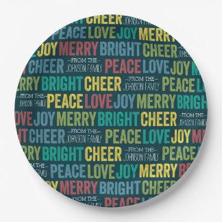 Alegría de la alegría del amor de la paz feliz con plato de papel de 9 pulgadas