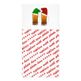 Alegría de la cerveza del navidad plantilla para tarjeta de foto