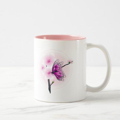 Alegría de la flor del flor de la mariposa del ros taza dos tonos