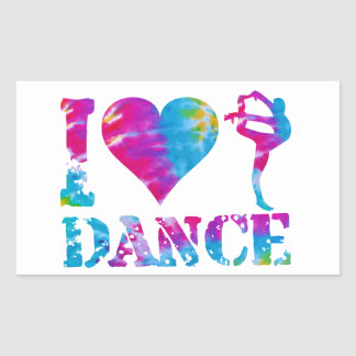 Alegría de la gimnasia de la danza del amor del pegatina rectangular