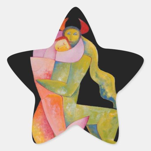 Alegría de la paz del abrazo del amor pegatina en forma de estrella