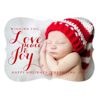 """Alegría de la paz del amor del bebé de la tarjeta invitación 5"""" x 7"""""""