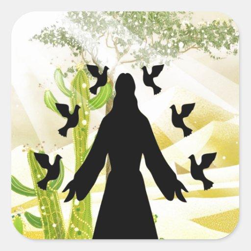 alegría de la paz del Jesucristo Pegatina Cuadrada