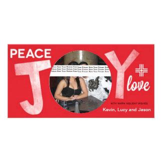 Alegría de la paz más tarjeta de la foto del amor tarjeta con foto personalizada