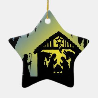 Alegría de la silueta de la natividad al mundo adorno navideño de cerámica en forma de estrella