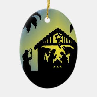 Alegría de la silueta de la natividad al mundo ornamento de navidad