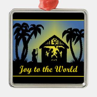 Alegría de la silueta de la natividad al mundo ornaments para arbol de navidad