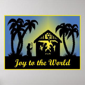 Alegría de la silueta de la natividad al mundo póster
