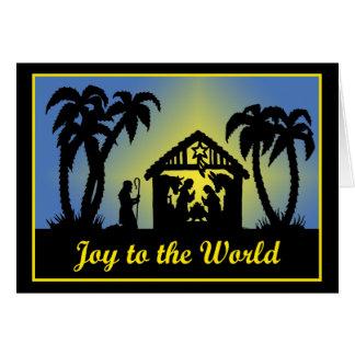Alegría de la silueta de la natividad al mundo tarjeta de felicitación