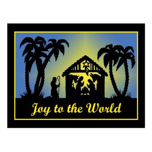 Alegría de la silueta de la natividad al mundo postal