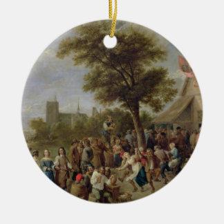 Alegría de los campesinos, c.1650 (aceite en lona) adorno navideño redondo de cerámica