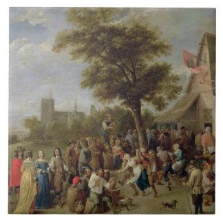 Alegría de los campesinos, c.1650 (aceite en lona) azulejo cuadrado grande