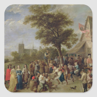 Alegría de los campesinos, c.1650 (aceite en lona) pegatina cuadrada
