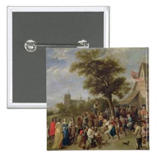 Alegría de los campesinos, c.1650 (aceite en lona) pin cuadrado