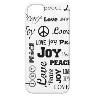 Alegría del amor de la paz blanco y negro funda para iPhone SE/5/5s