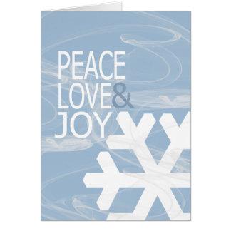 Alegría del amor de la paz del copo de nieve felicitación