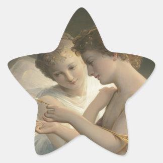 Alegría del amor de la paz del Cupid y de la psiqu Calcomania Forma De Estrella