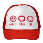 Alegría del amor de la paz gorros