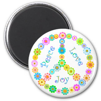 Alegría del amor de la paz imán redondo 5 cm