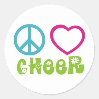 Alegría del amor de la paz pegatina redonda