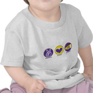 Alegría del amor de la paz púrpura/amarillo camisetas