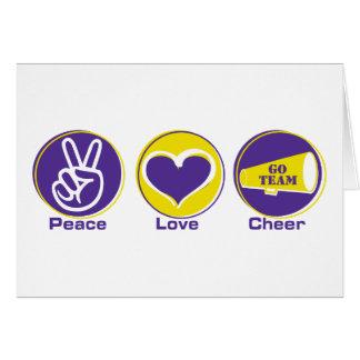 Alegría del amor de la paz púrpura/amarillo tarjeta de felicitación