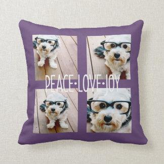 Alegría del amor de la paz - púrpura del collage d almohada