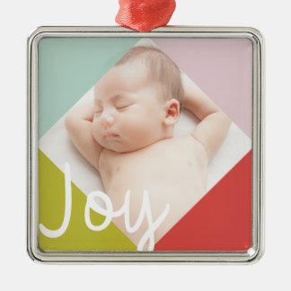 Alegría del bloque del color adorno navideño cuadrado de metal