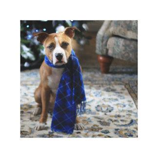 Alegría del día de fiesta del perro del rescate impresión en lona estirada