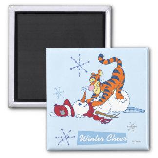 Alegría del invierno de Tigger Imán Cuadrado