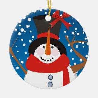 Alegría del muñeco de nieve adorno navideño redondo de cerámica