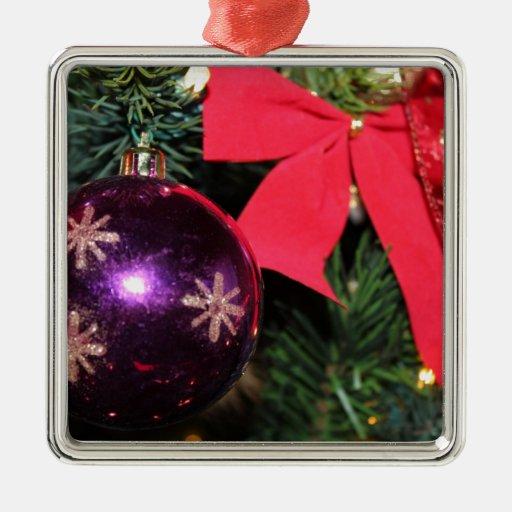 Alegría del navidad adorno cuadrado plateado