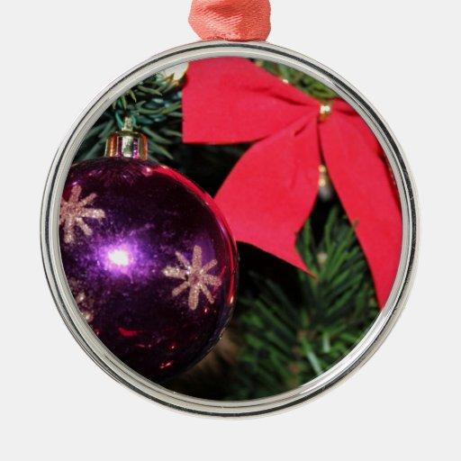Alegría del navidad adorno redondo plateado